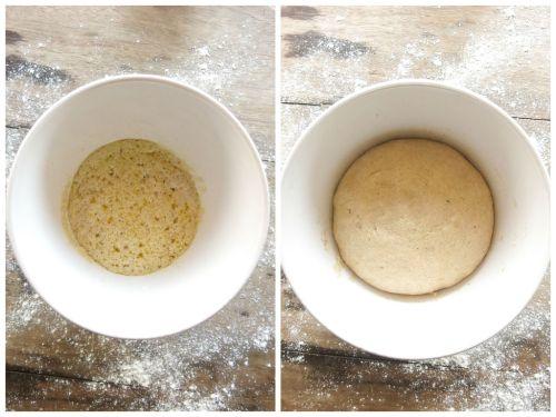 Massa na primeira fermentação, ainda sem a farinha, e a segunda, pronta para ser modelada